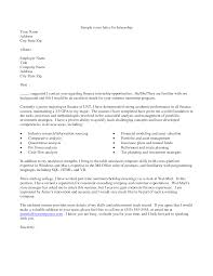 Sample Cover Letter For An Internship Sample Cover Letter