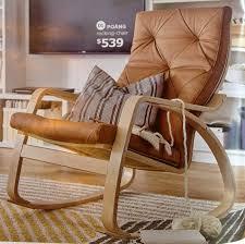 ikea poang rocking chair seglora natural leather cover birch veneer frame