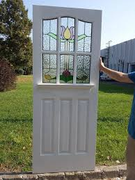 6 1930 s 6 panel front door with traditional stained glass
