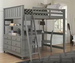 NE Kids 2045 Stone finish loft bed with Desk twin full