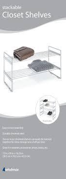 whitmor 2 tier stackable closet shoe racks 12 x 30 x 16 6 chrome com