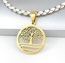 details about gold spiral celtic tree of life pendant braided white leather choker necklace