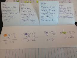 next we filled out the fold able with each type of one step equation it is the kind of problem not the operation you perform to solve for x