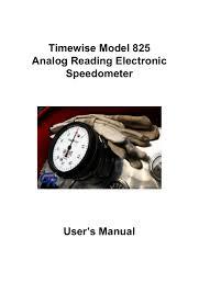 10 Pulse Speedometer Calibration Chart Timewise Model 825 Analog Reading Electronic Speedometer