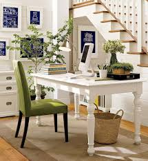 Immaculate White Home Office Themes Added White Stained Wooden Laptop Desk  Also Stairs As Well As Green Fabric Upholstery Chairs On Grey Rugs As  Inspiring ...