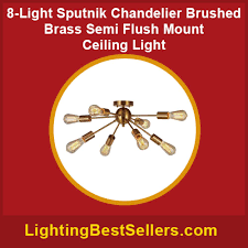 8 light sputnik chandelier brushed brass semi flush