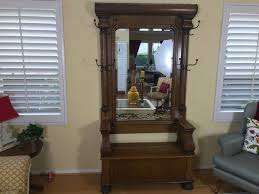 Coat Rack Bench With Mirror Antique Tiger Oak Hall Tree With Storage Bench Beveled Glass Mirror 42
