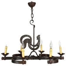 wrought iron french kitchen rooster chandelier with six candles for