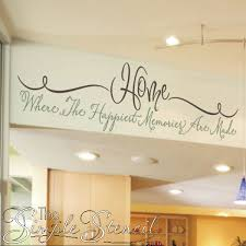 a beautifully scripted removable vinyl wall decal that reads home where the happiest memories are on home wall art quotes with home memories quote family wall lettering the simple stencil