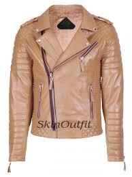 skinoutfit men s motorcycle leather jacket camel beige