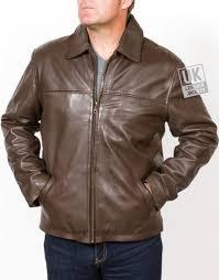 men s vintage brown leather jacket classic harrington main