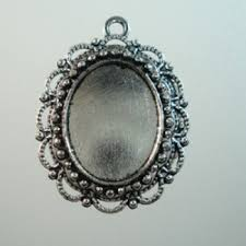 23x31mm ant silver filigree oval pendant frame