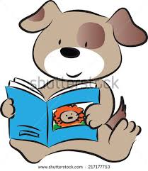 dog reading story book