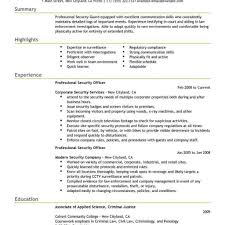 Best Professional Security Officer Resume Example Livecareer With
