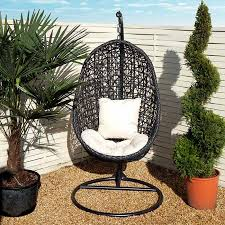 image of garden hanging egg chair with cushion