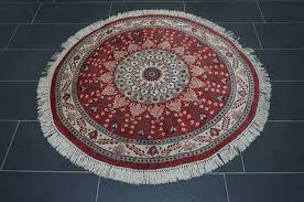 round oriental carpet cashmere qom 130 x 130 cm end of the 20th century