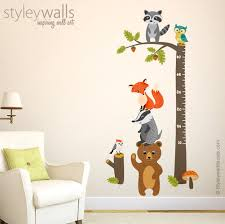 woodland animals growth chart wall decal forest animals image 0