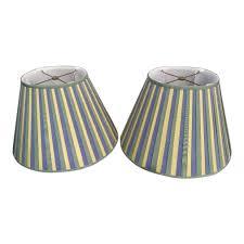 A Pair Grosgrain Ribbon Oval Yellow Green Blue Custom Lamp Shades
