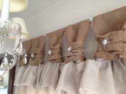 burlap curtains with jewelry accent for home decoration ideas