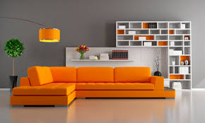 orange living room furniture. Modern Living Room Design With Bright Orange Sectional Sofa, Grey Walls, Lamp And Furniture N