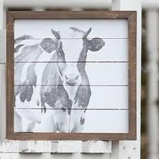 rustic framed farmhouse cow art vintage farmhouse wall decor