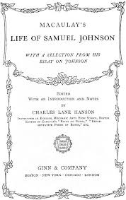 the project ebook of macaulay s life of samuel johnson   original title page
