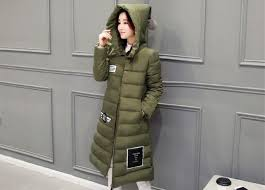 asian woman wearing long winter jacket