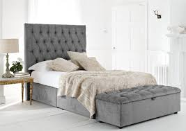 Comfortable Soft Gray Bed Set With Diamond Pattern High Headboard And White  Colored Theme Bedroom