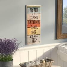 winston porter my aim is to keep this bathroom clean textual art plaque reviews wayfair