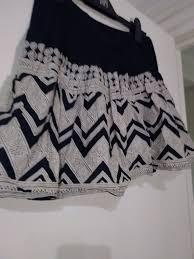 Aztec Design Skirt Thin Black Pleated Skirt With Aztec Pattern
