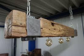 Lamp Van Oud Eiken Balk 120 Cm Met Metalen Klamp Afmeting 120 Cm