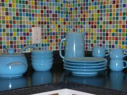 elegant kitchen style ideas with colorful glass self stick tile backsplash sky blue ceramic kitchen