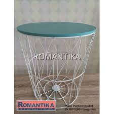 metal wire basket wooden top side table