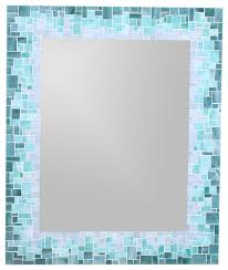 sunburst mirror in glass mosaic tiles of blue green and grey glass tiles beach style bathroom mirrors by live in mosaics