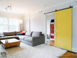 sliding doors for living room with yellow sliding barn door living room