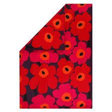 marimekko unikko double duvet cover 240 x 220 cm red orange plum