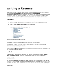 Writing My First Resume Resume Template Sample Writing Your Resume