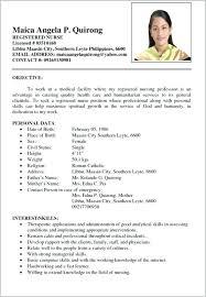 Filipino Nurse Resume Sample Simple Resume Sample Format Templates