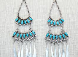 turquoise sterling silver chandelier earrings zuni made 2218pl