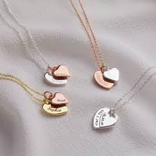 personalised double heart charm necklace