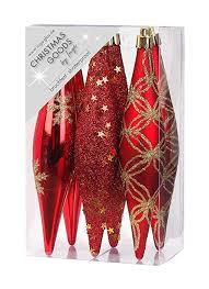 Inge Glas 6 Stk Weihnachtsschmuck Eiszapfen Rot Glanzmatt Oliven Kunstoff 15cm Christbaumschmuck Deko Weihnachten Christbaumkugeln Weihnachtsbaum