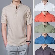 2020 <b>summer</b> Chinese style <b>men's</b> shirts <b>men's</b> thin <b>large</b> size stand ...