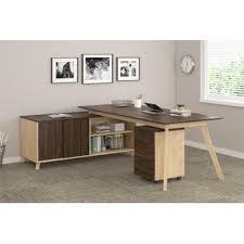 Modern desk office Wood Quickview Yliving Modern Contemporary Modern Desk With File Drawer Allmodern