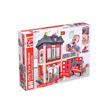 hape wooden fire station red