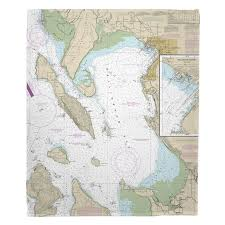 Wa Bellingham Bay Wa Nautical Chart Blanket Nautical