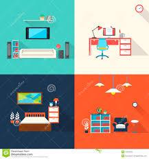 Creative Furniture Design Creative Furniture Icons Set In Flat Design Stock Vector Image