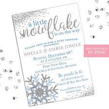 Snowflake Baby Shower Invitations Winter Baby Shower Invitations A Little Snowflake Is On The Etsy