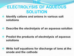 the electrolysis of aqueous solution