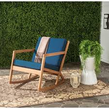safavieh vernon teak brown outdoor patio rocking chair with navy cushions