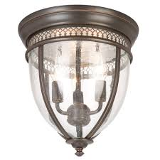3 light oil rubbed bronze flushmount with glass shade